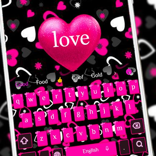 Pink girl love keyboard
