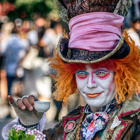 The Mad Hatter by Katherine Rynor - People Musicians & Entertainers ( tea party, top hat, costume, tea cup, mad hatter, character,  )