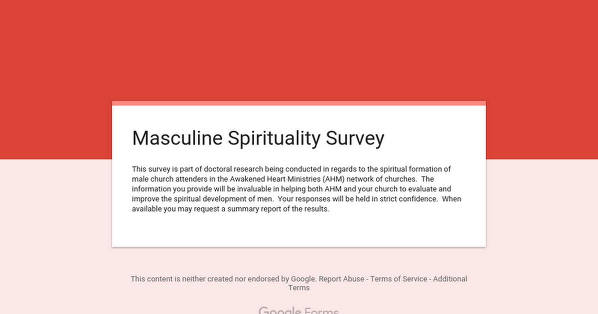 Masculine Spirituality Survey