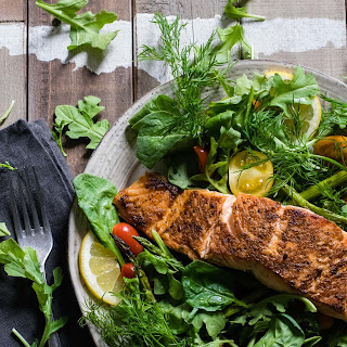 Salmon Mixed Green Salad with Meyer Lemon and Horseradish Vinaigrette Recipe