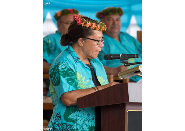 Dame Meg Taylor, Secretary General of the Pacific Islands Forum Secretariat, speaks at the 16-nation Pacific Islands Forum (PIF) opening in the Micronesian capital Palikir on September 8, 2016 - AFP