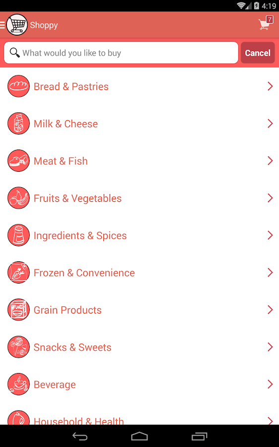 Shoppy! Grocery list- screenshot