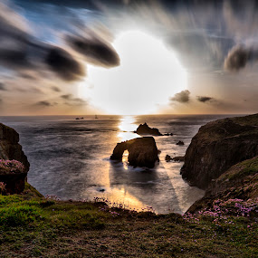 Sunset at Lands End by Brian Pierce - Landscapes Caves & Formations ( enys mons, sunset, lands end, cliff, sea, cornwall,  )
