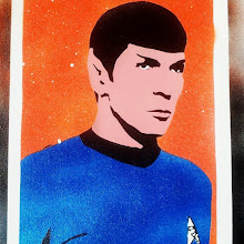Foto: Spock (Leonard Nimoy) - Particolare del quadro -  Handmade stencil with acrylic spray metal colours by F&N (Fausto Novelli)  NON DISPONIBILE