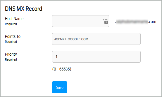 The MX record has been entered in the DNS MX Record pane. The Save button is selected.