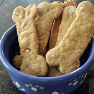 Peanut Butter and Banana Dog Biscuits.