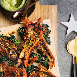 Darren Robertson's barbecued prawns with charred kale and avocado