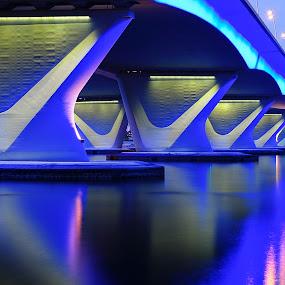 The Business Bay Bridge  by Jbern Eugenio - Buildings & Architecture Bridges & Suspended Structures ( details, blue, art, fine art, architecture, bridge, nikon )