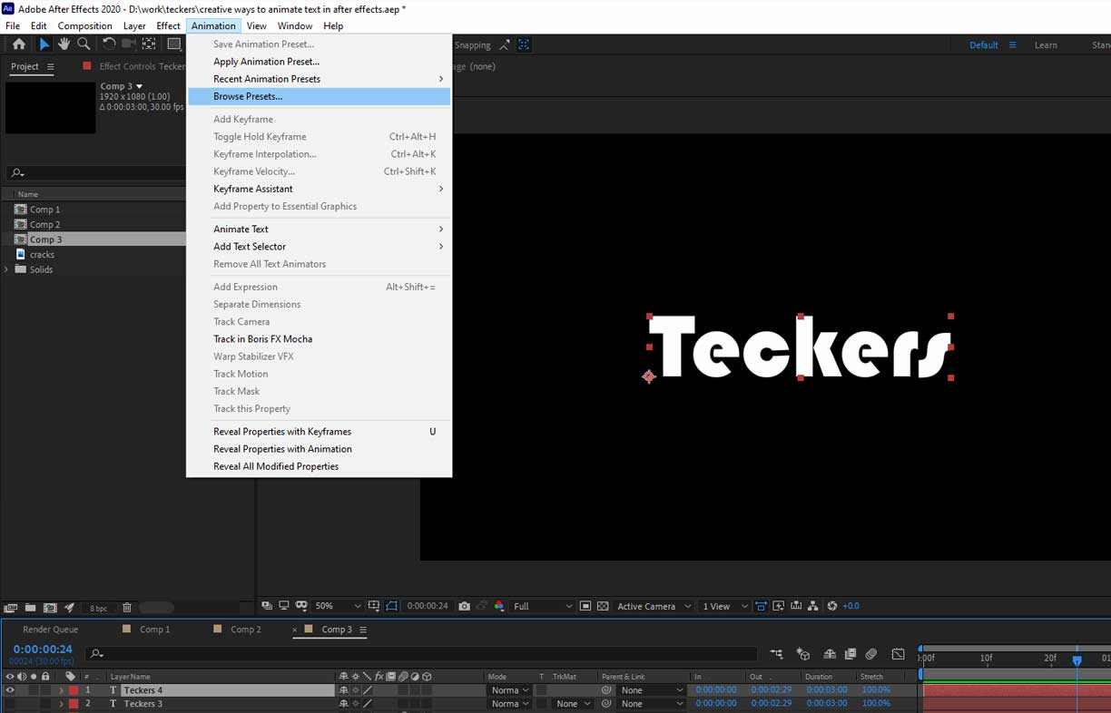 browse presets after effects