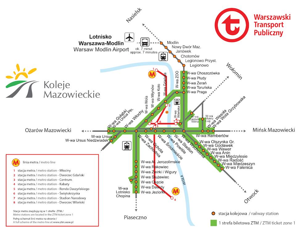 Jak dojechać do lotniska w Modlinie, Modlin, lotnisko, pociąg