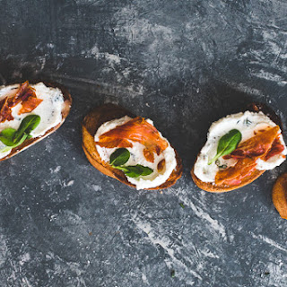 Crostini with Ricotta and Prosciutto.