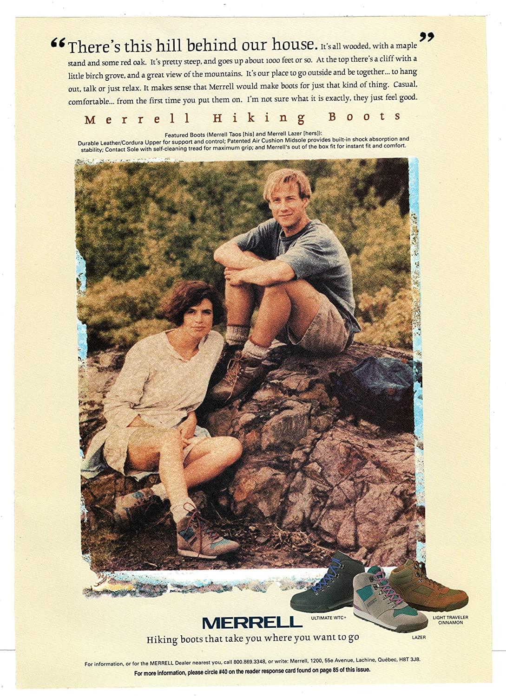 Reklama butów do hikingu Merrell z 1994.