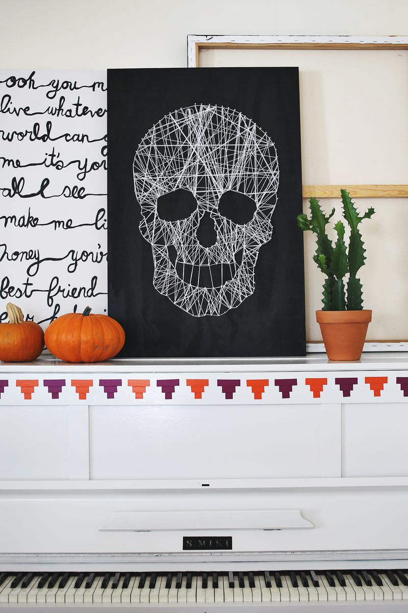 Skull String Art: These 30 DIY Halloween Decorations That Are Wickedly Creative will save you money and allow your creativity to flourish