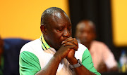 Cyril Ramaphosa wipes a tear after being announced as the new ANC President during the 54th ANC National Elective Conference held at Nasrec.