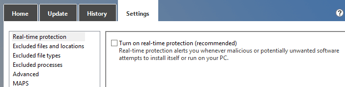 Uncheck Turn on real-time protection (recommended)
