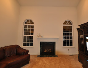 Photo: (Before) Phoenix's Family room mantle and windowEaston, PA
