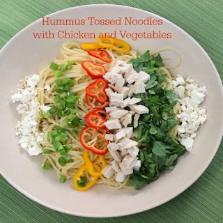 Hummus Tossed Noodles with Chicken and Vegetables