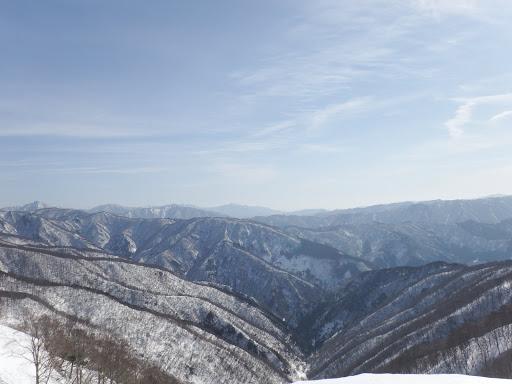 中央奥に小津権現山(谷奥が前回の下山口)