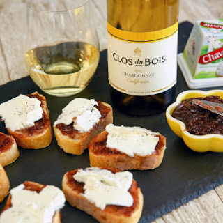 Baguette with Chavrie Goat Cheese, Fig Jam & Clos du Bois Chardonnay