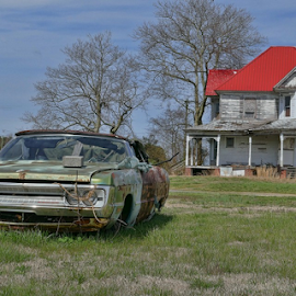 Left Everything by Gwen Paton - Buildings & Architecture Decaying & Abandoned ( red, junk car, old house, va, abandoned,  )
