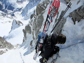Photo: 40 meter rappel in the exit couloir
