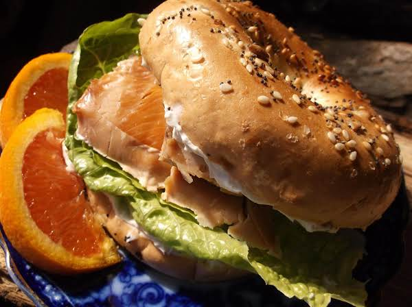Smoked Salmon, Chive And Dill Cream Cheese Bagel