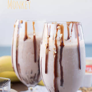 Chocolate Peanut Butter Banana Protein Smoothie.