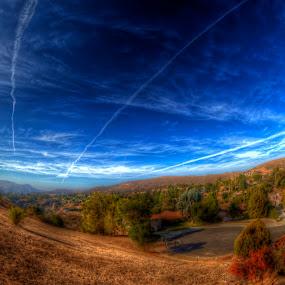 Jet trails by Chip Bolcik - Landscapes Cloud Formations