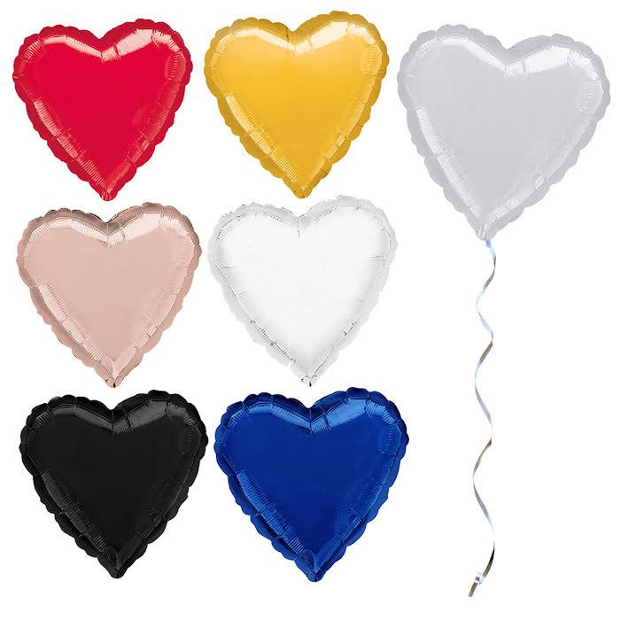 Hjärtballonger, folie, röd, gul, silver, rosé, vit, svart, blå