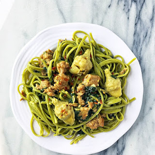 Spinach Linguine with Creamy Chicken Sausage and Artichoke Sauce
