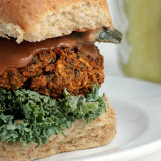 Kidney Bean and Kale BBQ Burger [Vegan, Gluten-Free].