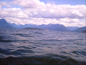 Photo: Crossing Desolation Sound with Kinghorn Island in the foreground and Redonda Island in the background.
