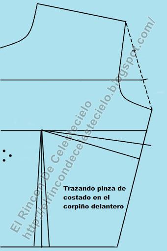 Trazando pinza de costado normal en patrón de corpiño delantero