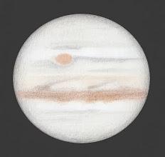 Photo: Jupiter le 15 février 2019 à 6h10 TU.  Seeing très mauvais, malgré cela on perçoit quelques modifications d'activité de Jupiter : la SEB est faiblement active, tandis que la zone équatoriale est brune. T406 à 400X en bino.