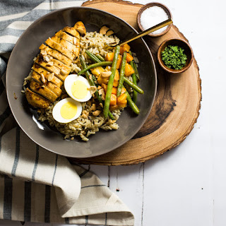 Brown Butter Rice Bowls with Marinated Chicken Breast and Roasted Veggies.