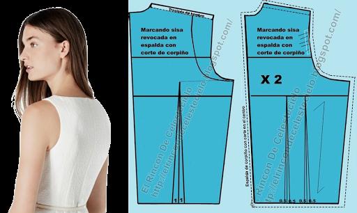 Trazando sisa revocada en el patrón espalda de corpiño con corte en el centro