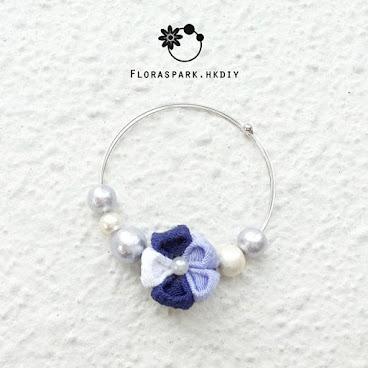 紫色梅花棉花珍珠手鐲 [香港手作手鐲]