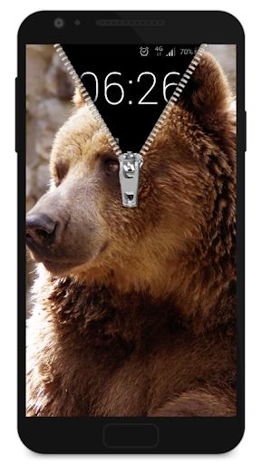 拉鍊鎖屏 - 熊