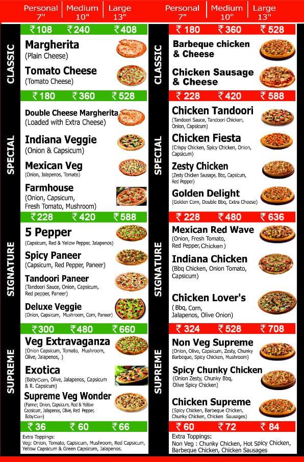 Pizza Street menu 1
