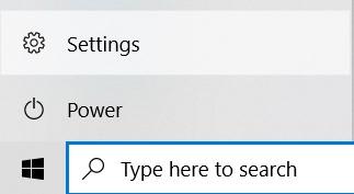 Settings option in the Start Menu