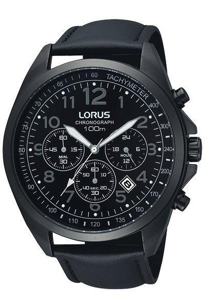 Klasyczny, męski zegarek Lorus na czarnym skórzanym pasku z stalową kopertą w czarnym kolorze. Tarcza zegarka jest czarna z subtarczami w szarym kolorze charakterystycznymi dla chronografu.