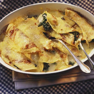 Cheese and Spinach-filled Crepes.