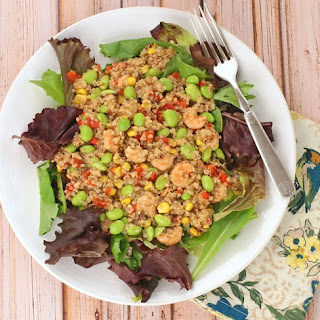 Quinoa, Edamame & Shrimp Salad with Balsamic Vinaigrette