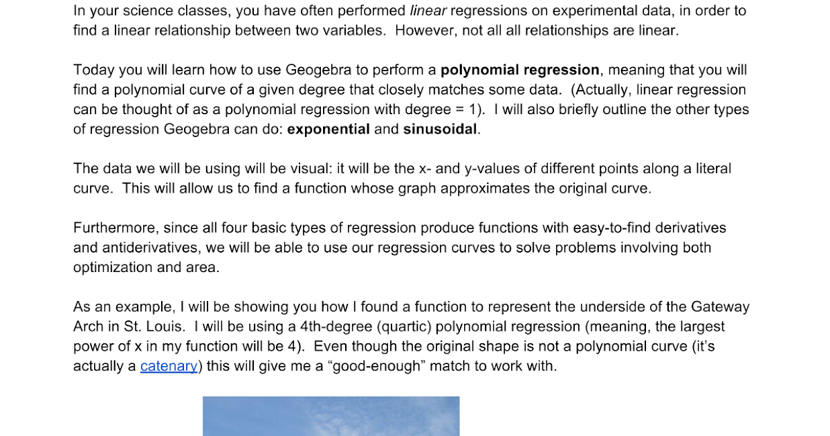Curve Fitting With Geogebra - Google Docs