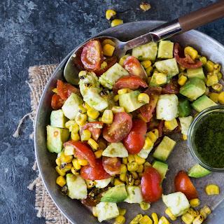 Tomato, Mozzarella and Grilled Corn Salad.