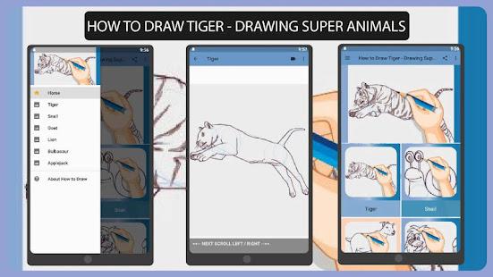 How to Draw Tiger - Drawing Super Animals 1.0 APK + Mod (Free purchase) إلى عن على ذكري المظهر