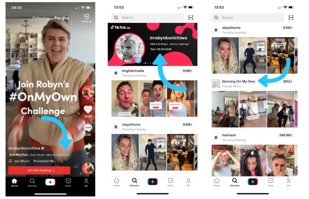 3 Pages of TikTok with sponsored videos, and trendy hashtags.