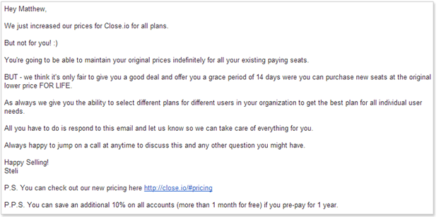 email to customer about a pending price increase.