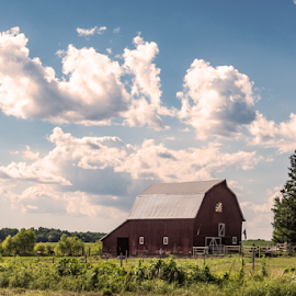 Red barn in the country by Jackie Nix - Landscapes Prairies, Meadows & Fields ( country, iowa, rural, illinois, clouds, ohio, summer, empty, red, agriculture, white, barn, flat, farming, plains, farm, midwest, quiet, sky, wisconsin, quilt, green, countryside, kansas, sunlight, blue, outdoors, background, no people, landscape, open, indiana, horses,  )
