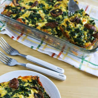 Kale, Mushroom, Feta, and Mozzarella Breakfast Casserole.